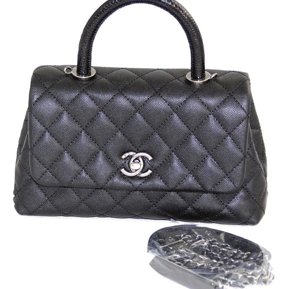 31dd50fe894273 CHANEL Handbags - CHANEL Black Caviar Quilted Coco Lizard Top Handle
